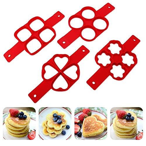 Non-stick Silikon (Nonstick Silikon Ei Ring Pfannkuchen Form, Omelett Eierring, Antihaft-Silikonform für Runde Eier, Muffins, Pfannkuchen (Herzform Blume 2 Pack))