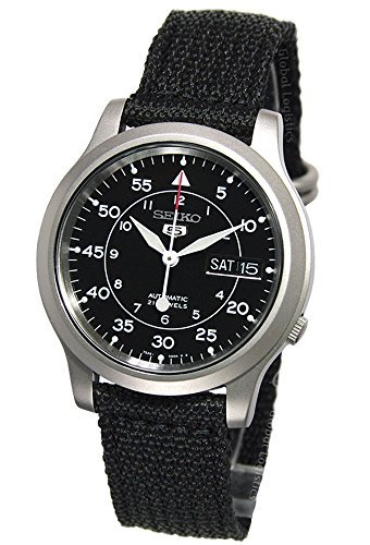 Seiko Men's Automatic Analogue Stainless Steel Watch With Black Canvas Strap _Snk809