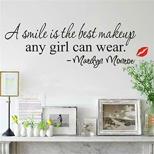 wandaufkleber 3d Neue kreative Persönlichkeit Marilyn Monroe Asmile ist Make-up-Zitat Wohnzimmer Kinder Schlafzimmer Mädchen Schlafzimmer