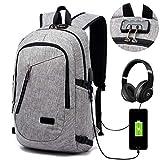 Laptop-Rucksack mit USB-Ladeanschluss und Anti-Diebstahl Lock und Headphone Port,15.6 Zoll Laptoptasche,Wasserdichte Business Schulrucksack Unisex Daypack Backpack (Grau)