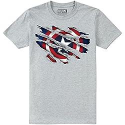 Marvel Captain America Torn Camiseta, Gris (Grey Heather SPO), 11-12 años para Niños