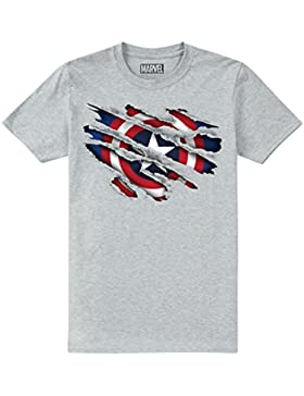 Marvel Captain America Torn, Camiseta para Niños