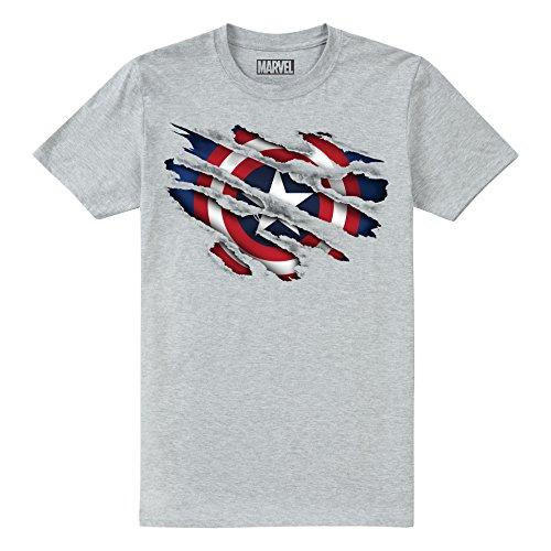 Marvel Jungen T-Shirt Captain America Torn Grau (Grey Heather SPO) 11-12 Jahre