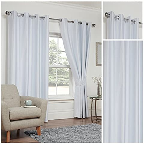 Faux Silk White 3 Pass Coated Thermal Blackout Ring Top / Eyelet Unlined Readymade Curtain Pair 66x54in(168x137cm) Approximately Including Tie Backs By Hamilton