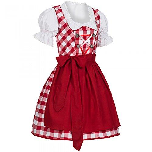 PAULGOS Dirndl Set 3 Teilig Marie, Trachtenkleid, Dirndl Bluse, passende Schürze, verschiedene Farben, Farbe:Rot, Damen Größe:36