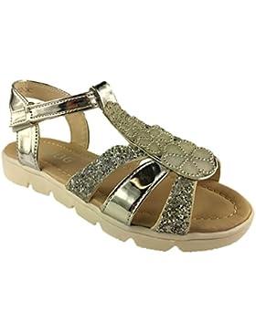 Mädchen Infant Velcro Soft Sohle Edelsteinbesetztes Glitzer Sommer Sandale Größe UK 4-9, silber - silber - Größe...