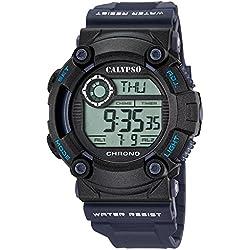 Calypso Herren-Armbanduhr Sport digital PU-Armband blau Quarz-Uhr Ziffernblatt schwarz UK5694/5