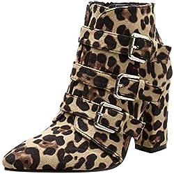 Zarupeng Leopardo de Las Mujeres patrón de Dedo del pie con Cremallera cinturón Hebilla Gruesa Puntiaguda Botines Zapatos Botas