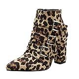 Damen Warme Winterstiefel -20% Beikoard Frauen Wild Leoparden Booties Snakeskin Zip Gürtelschnalle Dicke Spitz Booties Schuhe Stiefel