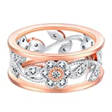 JaneDream Women Double Color Floral Zircon Ring Bridal Engagement Wedding Ring Exquisite 18.1mm/0.71inches
