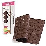 Silikon-Backmatte für 42 Macarons, Macarons-Backunterlage, Premium-Qualität made in Italy, 100 % Platin-Silikon von Pavonidea 38 x 30 cm, braun