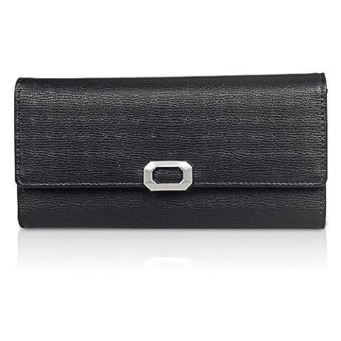 Fency Womens Multi-Card Faux Leather Wallet Long Tri-fold Matte Net Surface Purse Clutch (95-Degree Black)