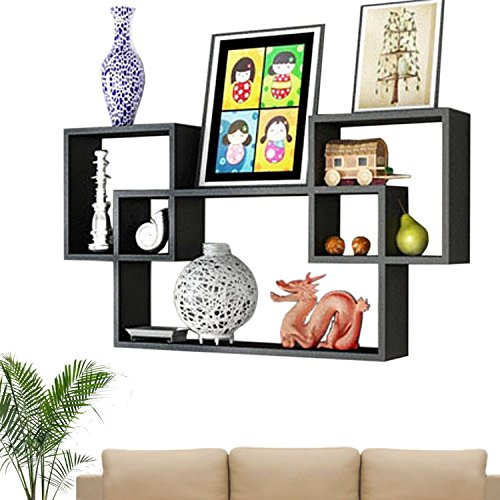 Artesia Beautiful Black Wooden Interlocked Wall Shelves