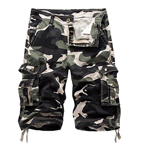 Herren Cargo Shorts Camo Bermuda Kurz Hose Camouflage Sommerhose Loose Fit Licht Armee grün 32 (Bild Arm Licht)
