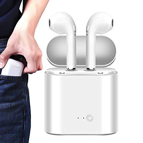 Auriculares Inalambricos, Bluetooth 4.2 Manos libres Bluetooth Auriculares inalambricos para iphone X 8 8 Plus 7 6 6S Samsung S8 S9 in Ear con Cargador Portátil y Reducción de Ruido para Android y iOS-Blanco