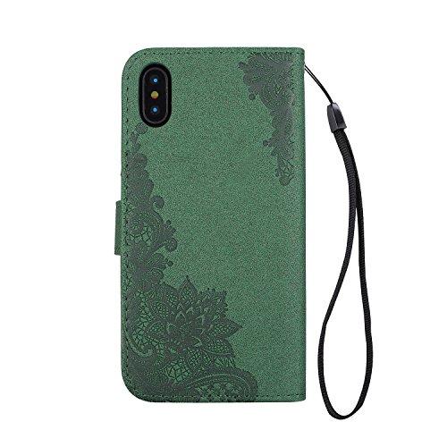 JIALUN-étui pour téléphone Phenix Flowers Embossing Pattern Faux Leather Horiontal Folio Stand Case avec Lanyard Card Slots pour iPhone X ( Color : Red ) Green