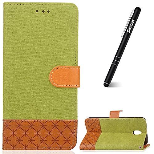 Slynmax Samsung Galaxy S4 Mini Hülle Grün,Galaxy S4 Mini Handyhülle Leder, Leder Flip Wallet Case Silikon Tasche Hardcase Brieftasche Magnetverschluss Stand Schutzhülle für Samsung Galaxy S4 Mini
