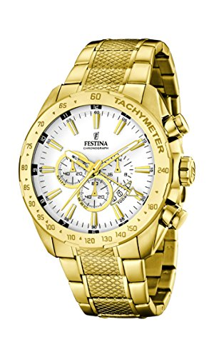 Festina F16878/1 - Reloj de pulsera hombre, Acero inoxidable, color dorado