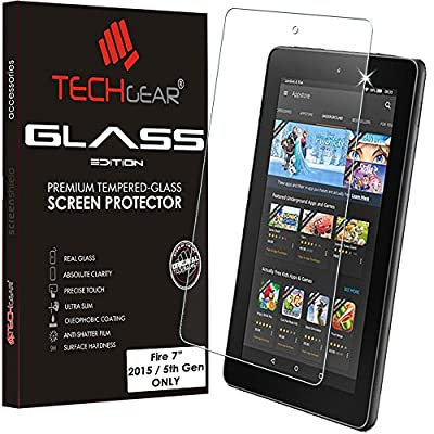"TECHGEAR® Amazon Fire 7"" Tablet GLASS Edition Genuine Tempered Glass Screen Protector Guard Cover"