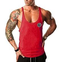 0b0d20f555b31 YeeHoo Deportivo Gym Camisetas Sin Manga Tank Tops de Tirantes Hombre  Suelto Chaleco Fitness Gimnasio Algodón