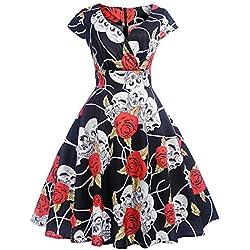 beautyjourney Vestido de cóctel retro vintage de los años 50 para mujer, de noche, con estampado de rosas y calaveras, manga corta