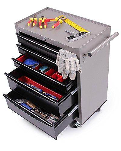Ondis24 Werkstattwagen Werkzeugwagen abschließbar mit 5 Schubladen mit Lenkrollen unbestückt - 6