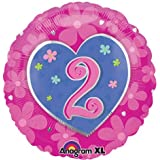 Folienballon Geburtstag Zahl 2 HERZ (ca.45cm) Kindergeburtstag