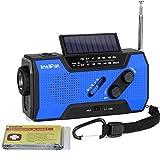 IntiPal Multifunktion Solar Dynamo Kurbel Radio mit 2000mAh Power Bank Taschenlampe Leselampe Alarm Rettungsdecke (Blau)