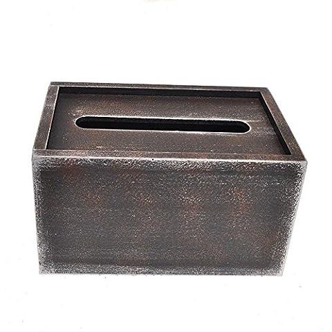 CanKun Couverture rétro de boîte en tissu en bois pour le décor de voiture à la maison , 18*12*10cm