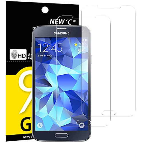 NEW'C Lot de 2, Verre Trempé pour Samsung Galaxy S5 New, Film Protection écran - Anti Rayures - sans Bulles d'air -Ultra Résistant (0,33mm HD Ultra Transparent) Dureté 9H Glass