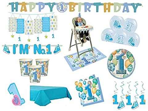 XXL Party Deko Set 1.Geburtstag Junge blau 52 teilig Kindergeburtstag