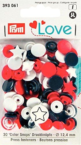 Foto de prymlove forma de estrella non-Sew ColorSnaps Snap Fasteners, plástico, rojo/blanco/azul marino, 12,4mm, 30piezas
