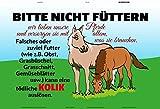 Bitte nicht füttern! Pferd stall koppel kolik warnschild schild aus blech, metal sign, tin