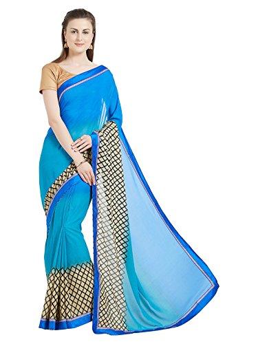Arohi Designer Women\'s Georgette Printed sarees for women latest design with Blouse Piece (Prachi-2008-SAREE15#Blue # Free Size Sarees)