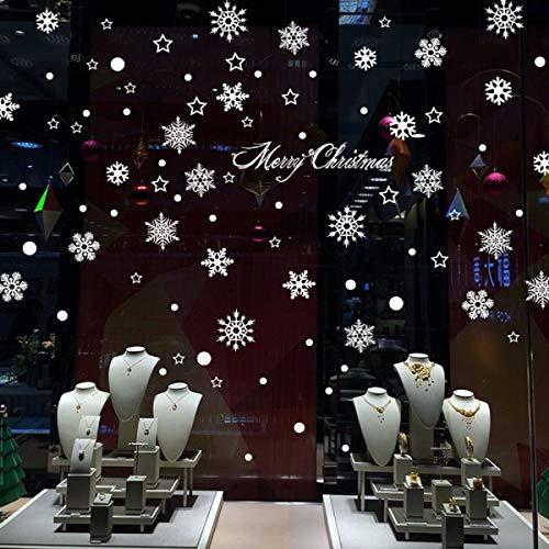 Pegatinas de Navidad, navidad decoracion Navidad Copo de Nieve, pegatinas de pared calcomanías de ventanas DIY Escaparate, Tienda, Oficina (2 hojas X 30 * 45cm) (A)