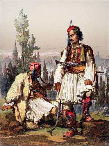 Leinwandbild 120 x 160 cm: Albanische Söldner der osmanischen Armee von Amadeo Preziosi / Bridgeman Images - fertiges Wandbild, Bild auf Keilrahmen, Fertigbild auf echter Leinwand, Leinwanddruck