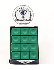 12 x SILVER CUP Snooker Pool Chalk - TOURNAMENT GREEN by Silver Cup