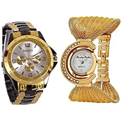 Aaradhya Fashion Analogue White Dial Men's And Women's Watch-A9F-Julla-Rosara-Combo Of 2