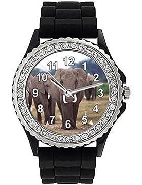 Timest - Elefant Strass Damenuhr mit Silikonarmband in schwarz Rund Analog Quarz CSG018AZ