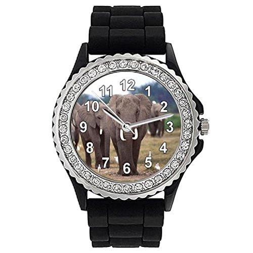 Timest - Elefante - Reloj de Silicona Negro para Mujer con piedrecillas Analógico Cuarzo CSG018