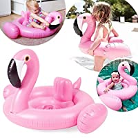 Pink Flamingo Baby Float Seat Boat Inflatable Swim Ring Pool Toys