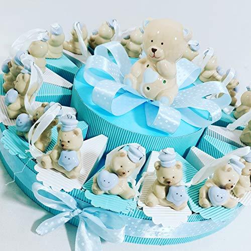 Bomboniere nascita battesimo torta con orsettino orsetto panna con stella cuore cappello compleanno spedizione inclusa sb (torta 20 fette a)