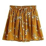 Kurzehose Damen,Sonnena Sommer Mode Frauen Hohe Taille Boho Print Shorts Mini Hosen Damen Elegant Lose Tunnelzug Crepe Hotpants Lässig Reizvoller Kurze Hose Sommerhose (XL, Sexy Gelb)