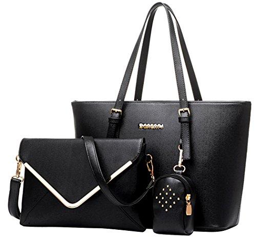 Coofit Damen Handtaschen PU Leder Messenger Bags Tragetaschen Satchel Clutch Wallet Geldbörse, Black, L (Handtasche Messenger Purse Bag)