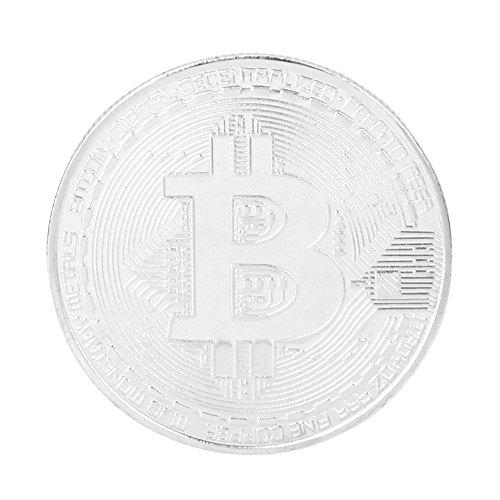 Gedenkmünzen, Chshe 1 x Silber überzogene Bitcoin Münze Sammlerstück BTC Münze Kunst Sammlung Physikalisch (Münze Silber-herausforderung)
