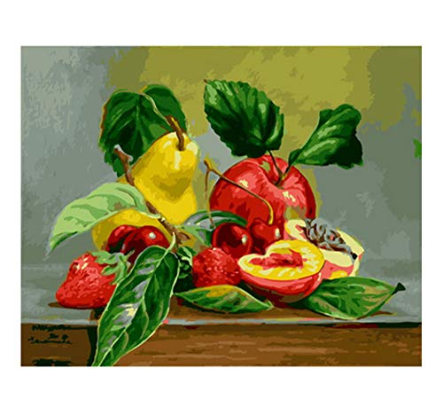Ölfarbe Malen Nach Zahlen DIY Frameless Obst Apfel Birne Erdbeere Farbe Auf Leinwand Modern for Home Arts 40x50cm -
