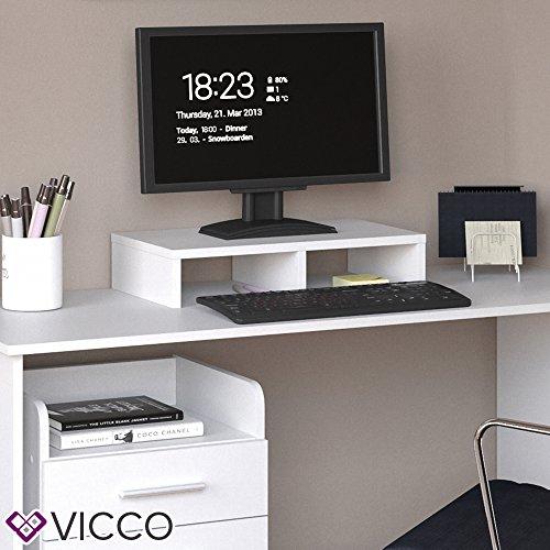 VICCO Monitorständer Weiß 50 cm - Schreibtischaufsatz Bildschirmständer für Laptop (Weiß, Einzeln) - 3