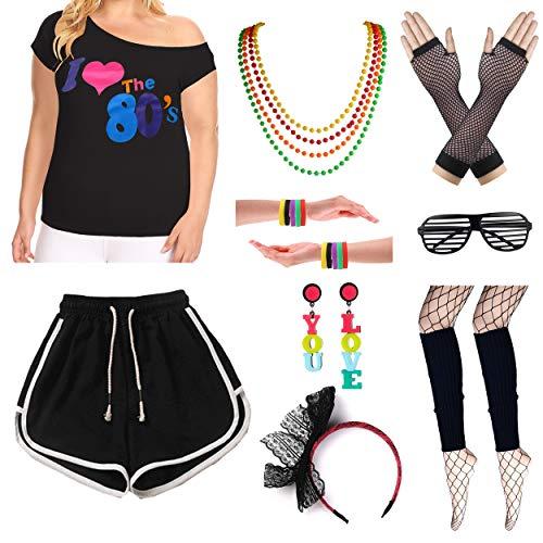 Plus Size Frauen 10 Stück Rock Star Ich Liebe die 80er Jahre T-Shirt Outfit Kostüm Set (1X/2X, Black)
