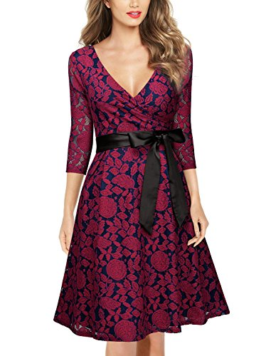 MIUSOL Damen V-Ausschnitt Abendkleid Elegant Spitze Cocktailkleid 3/4 Arm Bogen Gürtel Hochzeit Brautjungfer Kleid Rot Gr.M -