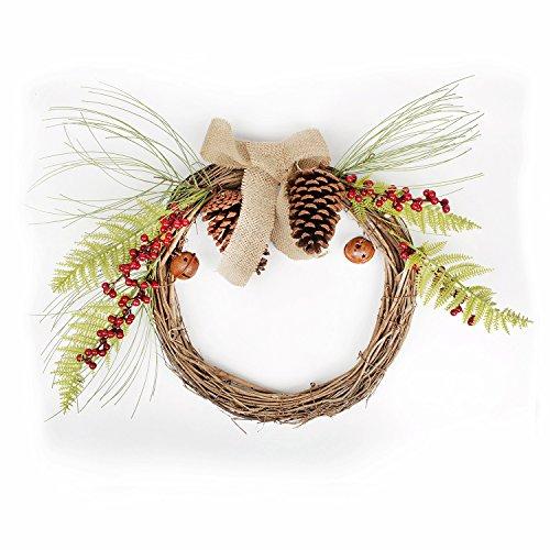 Floral Bell (FAVOWREATH Christmas Serie Handgefertigt 55,9cm Kiefer, Berry, Farnblatt, Bell Dry Kranz Tür Vorne für/Wand/Kamin Hochzeit Floral Aufhänger Decor)